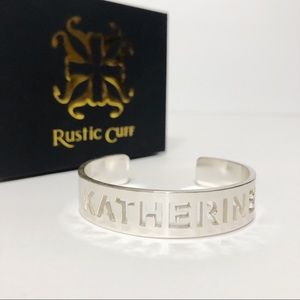 Rustic Cuff KATHERINE Silver Custom Name Bracelet